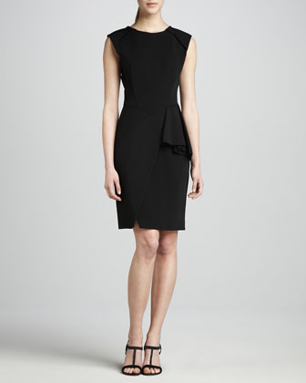 Techno Jersey Faux Wrap Dress