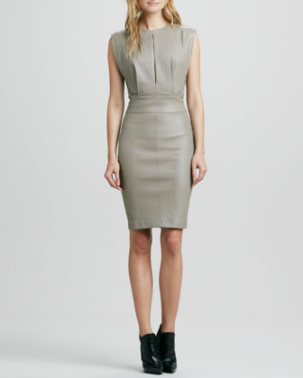 Blouson-Top Leather Dress