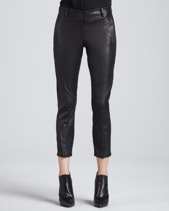 Double-Seam Cropped Leather Pants
