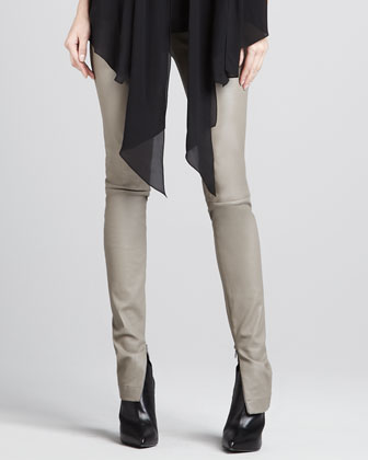 Leather Zipper-Cuff Leggings