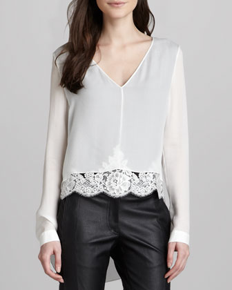 Lace-Hem Silk Top