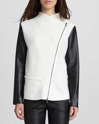 Asymmetric Faux-Leather-Sleeve Jacket