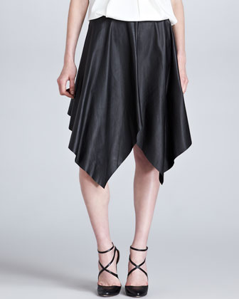 Handkerchief-Hem Leather Skirt