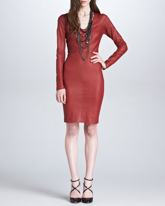 Stretch Leather Long-Sleeve Dress