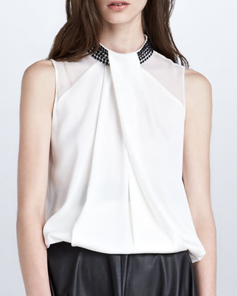 Crystal-Choker Satin Blouse, Ivory