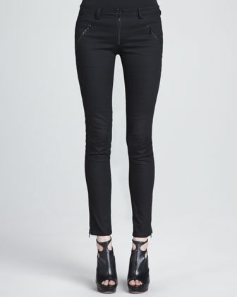 Front-Zip Skinny Pants