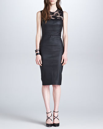 Stretch Leather & Lace Dress