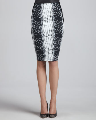 Croc-Printed Pencil Skirt