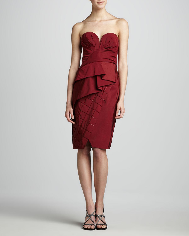 Womens Strapless Draped Dress   J. Mendel   Bordeaux (6)