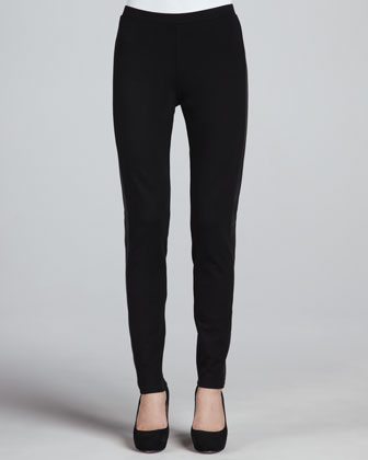Ponte Skinny Leather-Panel Pants, Petite