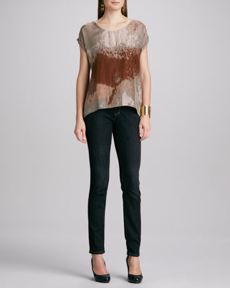 Draped Suede Jacket, Printed Short-Sleeve Top, Soft Skinny Jeans & Studded ...