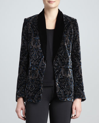 Paisley Velvet One-Button Blazer