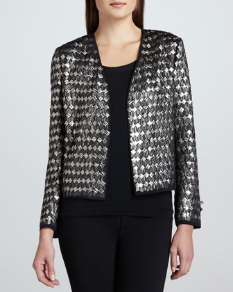 Metallic Diamond-Pattern Cropped Blazer