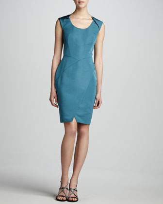 Faille Wrap-Front Dress
