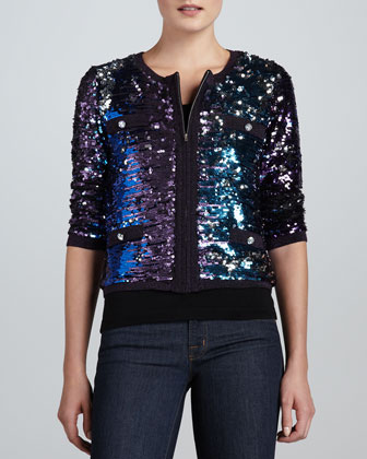 Allover Sequined Jacket & Scoop-Neck Knit Tank