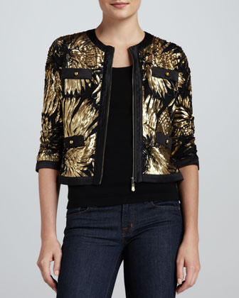 Gold-Ribbon Zip Jacket & Knit Tank