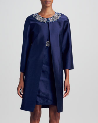 Silk Dupioni Beaded-Collar Jacket