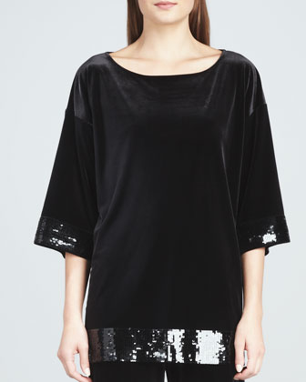 Velour Sequin-Trimmed Tunic
