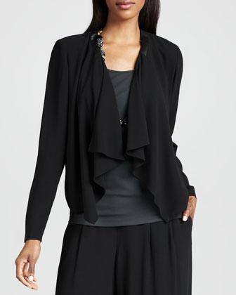 Draped-Front Silk Jacket