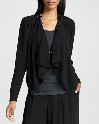 Draped-Front Silk Jacket, Petite