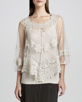 Pierrette Sheer Lace Top, Women's
