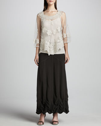 Snake-Print Moto Jacket, Pierrette Sheer Lace Top, Slim Tank & Alva Maxi ...