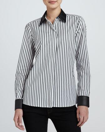Striped Leather-Trim Shirt, Petite