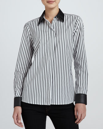 Striped Leather-Trim Shirt