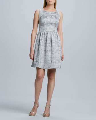 Sleeveless Brocade Fit-and-Flare Dress
