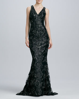 Sleeveless V-Neck Lace Gown