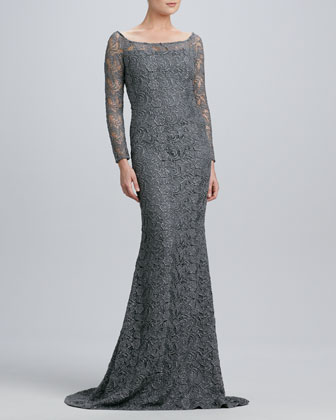 Boat-Neck Lace Gown with Metallic Highlights