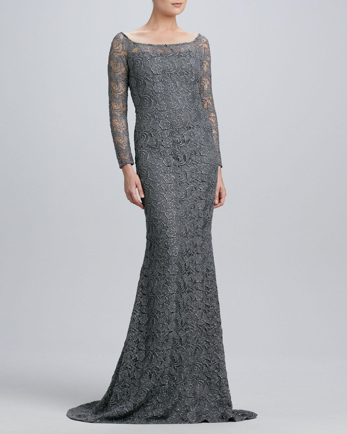 Womens Boat Neck Lace Gown with Metallic Highlights   Carmen Marc Valvo