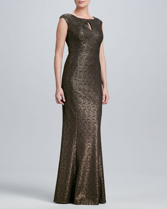 Boat-Neck Gown with Front Keyhole