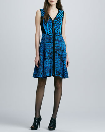 Kasbah Printed Front-Zip Dress