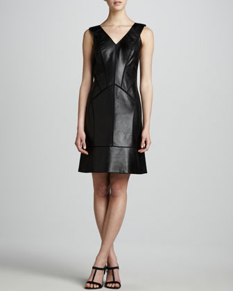 Leather Paneled Dress
