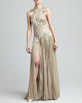 Beaded Deco Drop-Waist Gown