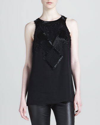 Silk Chiffon Beaded Tank