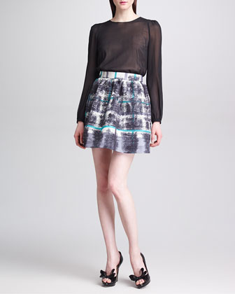 Tartan Plaid-Print Faille Skirt