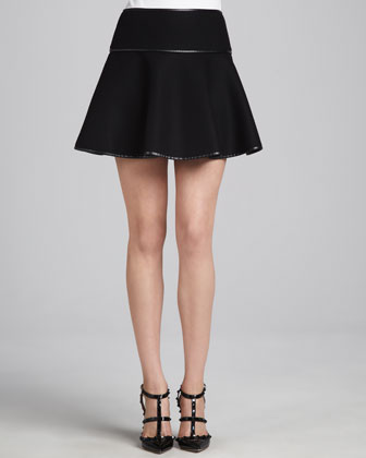 Flared High-Waist Skirt, Black