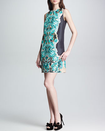 Printed Faille Shift Dress, Turquoise