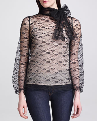 Lace Tie-Neck Blouse, Black