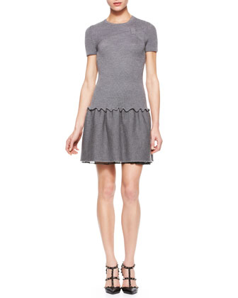 Short-Sleeve Knit Dress with Bow, Charcoal