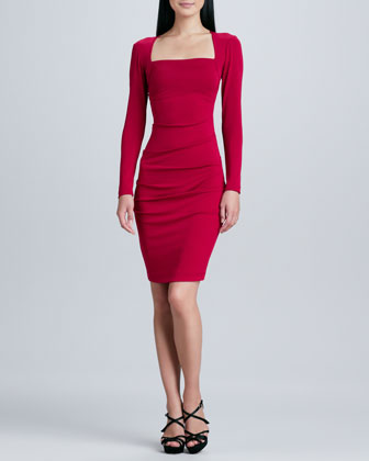Long-Sleeve Square-Neck Sheath Dress