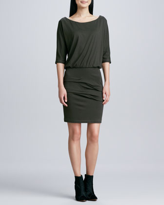 3/4-Sleeve Ponte Blouson Dress