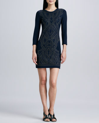Three-Quarter Sleeve Studded Dress