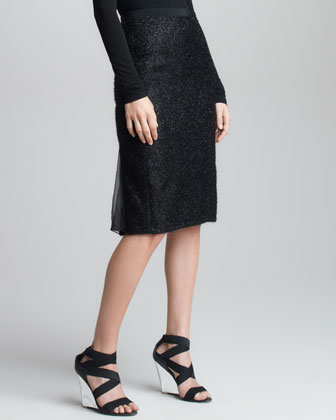 Chiffon Metallic Tweed Skirt