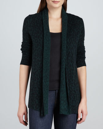 Cashmere Animal-Print Cardigan