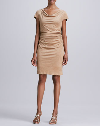 Draped-Neck Faux-Suede Dress