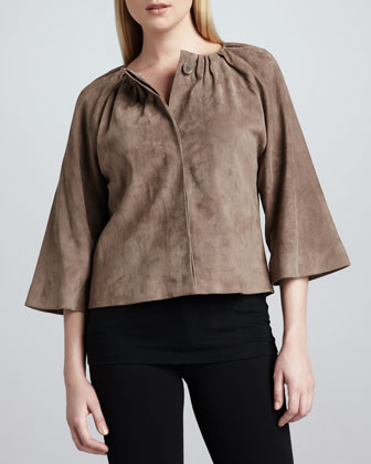 Suede Pleated Cropped Jacket