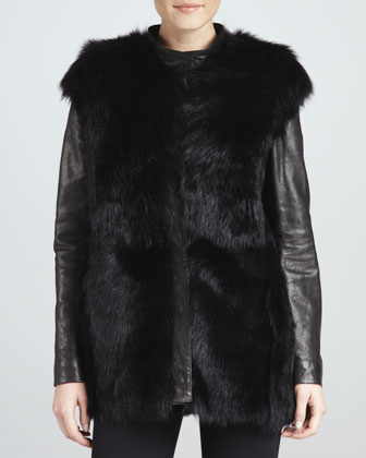 Shearling Jacket/Vest with Removable Sleeves
